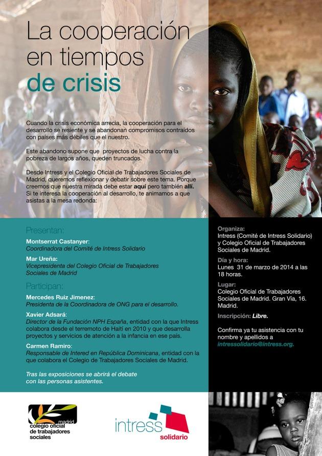 Intress y el Colegio de Trabajadores Sociales de Madrid te invitan a la jornada: La Cooperación en Tiempos de Crisis